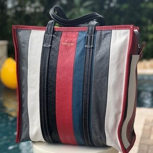 Balenciaga Bazar Shopper Tote Bag lambskin striped